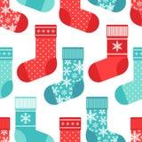 Картина милой зимы безшовная с носками в традиционных цветах Стоковое Фото