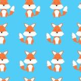 Картина милой лисы мультфильма безшовная на голубой предпосылке бесплатная иллюстрация