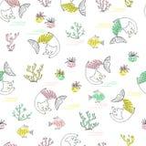 Картина милой маленькой русалки кота безшовная текстурированная иллюстрация иллюстрация штока