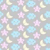 Картина милых пастельных цветов младенца безшовная Иллюстрация вектора с облаком и лунами звезд Стоковые Изображения