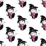 Картина милых фей безшовная Предпосылка шаржа вектора волшебная, Стоковая Фотография