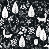 Картина милого вектора безшовная с заводами леса, птицами, и силуэтами лис белизна предпосылки черная иллюстрация вектора
