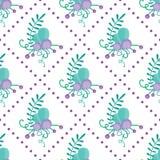 Картина милого вектора безшовная с нарисованными вручную флористическими элементами и ветвями Стильный простой дизайн также векто Стоковые Фото