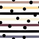 Картина милого вектора геометрическая безшовная Точки и нашивки польки абстрактной покрашенная щеткой реальная текстура ходов к т Стоковое Изображение RF