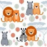 Картина милого вектора животная безшовная с львом, носорогом, зеброй Стоковые Фотографии RF
