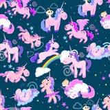 Картина милого единорога безшовная, волшебное летание Пегаса с крылом и рожок на радуге, иллюстрации вектора лошади фантазии Стоковое Изображение