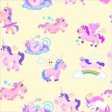Картина милого единорога безшовная, волшебное летание Пегаса с крылом и рожок на радуге, иллюстрации вектора лошади фантазии Стоковое Изображение RF
