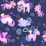 Картина милого единорога безшовная, волшебное летание Пегаса с крылом и рожок на радуге, иллюстрации вектора лошади фантазии Стоковые Изображения