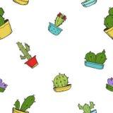 Картина милого кактуса рук-притяжки шаржа Стоковое Фото