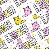 Картина милого кота безшовная в стиле заплатки Стоковое Изображение RF