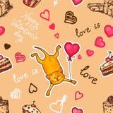Картина милого кота безшовная иллюстрация штока