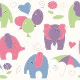 Картина милого шаржа безшовная с слонами, воздушными шарами и umbre Стоковое Фото