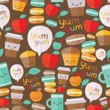 Картина милой еды безшовная Стоковая Фотография