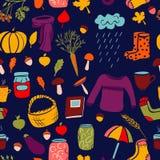 Картина милой осени безшовная на синей предпосылке Иллюстрация штока