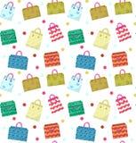 Картина милой хозяйственной сумки безшовная Красочные хозяйственные сумки с различным фоном дизайна Предпосылка бумажных сумок бе Стоковые Фотографии RF
