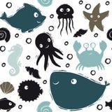 Картина младенца моря милая безшовная Сладкий дельфин, медуза, морские звёзды, морской конек, осьминог, краб, рыба фуги, печать к иллюстрация штока