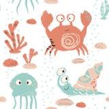 Картина младенца моря милая безшовная Сладкий краб, улитка, медуза, кораллы печатает иллюстрация вектора