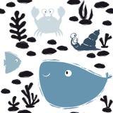 Картина младенца моря милая безшовная Сладкий краб, улитка, рыба, кит, водоросли, кораллы печатает бесплатная иллюстрация