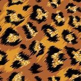 Картина модного леопарда безшовная Стилизованная запятнанная предпосылка с золотым ярким блеском для моды, печать кожи леопарда иллюстрация вектора