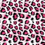 Картина модного розового леопарда безшовная Стилизованная запятнанная предпосылка для моды, печать кожи леопарда, ткань обоев иллюстрация вектора