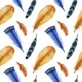 Картина моды акварели безшовная с пер Предпосылка ткани Стоковая Фотография RF
