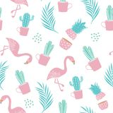 Картина моды безшовная для печати ткани с кактусом, ананасом, листьями ладони и фламинго ультрамодный вектор дизайна лета иллюстрация штока