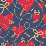 Картина моды безшовная с золотыми цепями и сердцами Предпосылка дня Святого Валентина аксессуаров цепи, оплетки и ювелирных издел иллюстрация штока