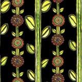 Картина мозаики акварели безшовная флористическая Стоковое фото RF