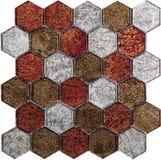 Картина мозаики безшовного шестиугольника ретро роскошная стеклянная Стоковое фото RF