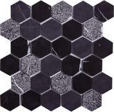 Картина мозаики мрамора и стекла безшовного черного шестиугольника ретро роскошная Стоковое Изображение RF
