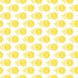 Картина монетки бита безшовная состоя из летающ желтый цвет денег Стоковые Изображения RF
