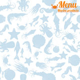 Картина морепродуктов меню безшовная Стоковое Фото