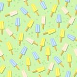Картина мороженого безшовная в плоском дизайне Стоковое фото RF