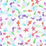 Картина морских животных морской жизни безшовная безшовная иллюстрация штока