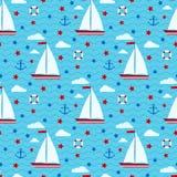 Картина морского милого вектора безшовная с парусником, звездами, облаками, анкером, lifebuoy на предпосылке моря с волнами беско бесплатная иллюстрация