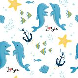 Картина моря, звезда анкера раковин дельфина иллюстрация штока