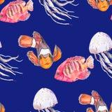 Картина моря рыбы тропические medusa Вектор океана Стоковое Фото