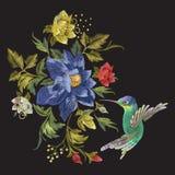 Картина моды вышивки с колибри и экзотическими цветками Стоковые Изображения