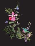 Картина моды вышивки с колибри, орхидеями и butterf Стоковое фото RF