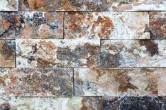 Картина мраморных каменных декоративных текстуры и предпосылки кирпичной стены Стоковые Изображения RF