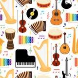 Картина музыкальных инструментов безшовная Стоковое Фото