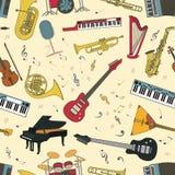Картина музыкальных инструментов безшовная Стоковое фото RF