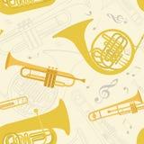 Картина музыкальных инструментов безшовная Стоковая Фотография RF
