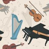 Картина музыкальных инструментов безшовная Стоковые Изображения