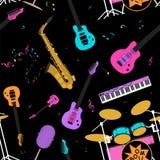 Картина музыкальных инструментов безшовная Стоковые Фото