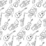 Картина музыкальных инструментов эскиза безшовная иллюстрация штока