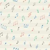 Картина музыки безшовная с рукописными музыкальными примечаниями Стоковое Фото
