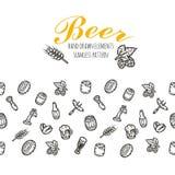 Картина нарисованная рукой безшовная с веществом пива Стоковые Фотографии RF