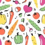 Картина нарисованная рукой безшовная с овощем Еда чертежа вектора художническая Лук иллюстрации лета красный, тыква, картошка Стоковые Фотографии RF