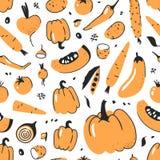 Картина нарисованная рукой безшовная с овощем Еда чертежа вектора художническая Лук иллюстрации лета красный, тыква, картошка Стоковые Изображения